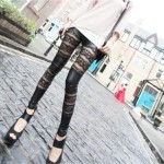 Amour-Women-Faux-Leather-Lace-Mesh-Inset-Stripes-Ankle-Length-Tight-Leggings-2