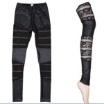 Amour-Women-Faux-Leather-Lace-Mesh-Inset-Stripes-Ankle-Length-Tight-Leggings-5