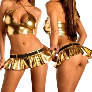 Blooms-Outlet-Lingerie-Metallic-Halter-Top-Mini-Skirt-Clubwear-CMJ329GD-M-Gold-0