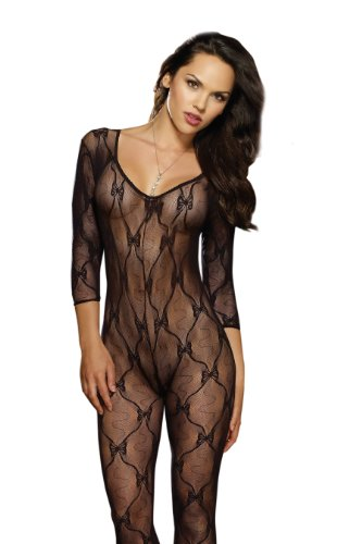 Dreamgirl-Womens-Long-Sleeve-Bow-Lace-Bodystocking-with-Open-Crotch-0