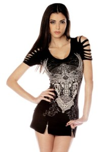 Folter-Womens-Gothic-Ripped-Cross-Tee-0