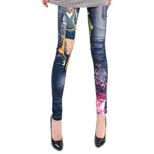 LOCOMO-Women-Blue-Denim-Print-Fake-Jeans-Cartoon-Footless-Legging-S-M-FFT020-0