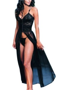 New-Arrival-Elegant-Sexy-Women-Lingerie-Retro-Lace-Black-Long-Slit-Dress-5022-0