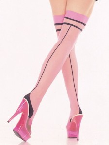 Thigh-Hi-Stocking-Pink-Black-Cuban-Foot-Backseam-SeXy-Hoisery-0
