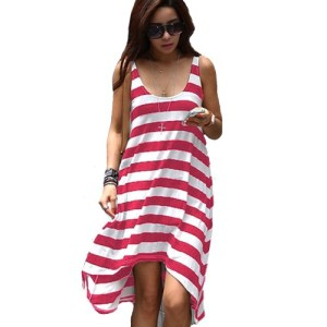 Waltzmart-Womens-Stripe-Asymmetric-Long-Vest-Sundress-0