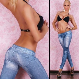 Womens-Big-Patch-Denim-Print-Fake-Jeans-Leggings-Black-Blueblue-0