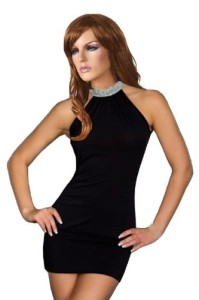 Female-Women-Hot-Neck-Rhinestone-Mini-Skirt-Ball-Night-Club-Dress-Black-0