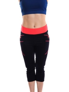 BMG-Womens-Fold-Over-Contrast-Waist-Multicolors-Workout-Capri-Yoga-Pants-0