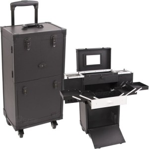 All-Black-4-Wheels-Leather-Like-Professional-Rolling-Aluminum-Cosmetic-Makeup-Case-with-Expandable-Trays-Drawers-and-Mirror-C6021-0