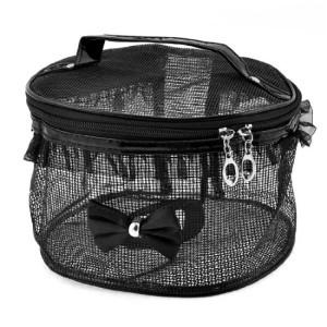 Black-Mesh-Zip-Closure-Toiletry-Storage-Cosmetic-Bag-w-Carrying-Handle-0
