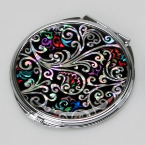 Mother-of-Pearl-Art-Deco-Black-Round-Double-Compact-Purse-Makeup-Cosmetic-Pocket-Hand-Mirror-3.2-Ounce-0