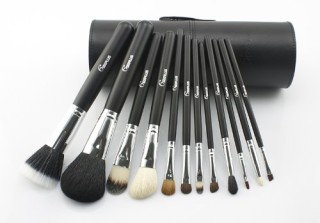 New-Sixplus-12pcs-Makeup-Brush-Set-in-Round-High-Quality-Leather-Case-Black-0
